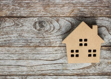 House model on  wooden floor Royalty Free Stock Photo