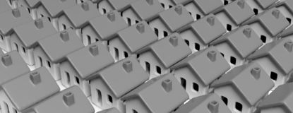 House models gray color, close to each other background, banner. 3d illustration. Densely populated city. House models gray color, close to each other texture vector illustration