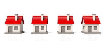 House models in row Royalty Free Stock Photography