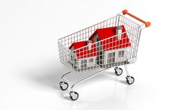 House models in shopping cart Royalty Free Stock Photography