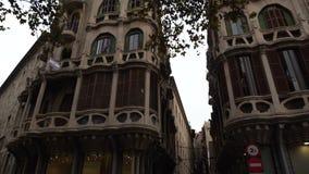 House in modern style in street of Palma de Mallorca, Balearic Islands, Spain. Winter, december 2017 stock video footage