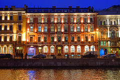 The house on the Moika river embankment. Night. Royalty Free Stock Photography