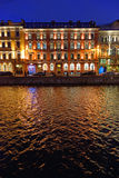 The house on the Moika river embankment. Night. Stock Photo