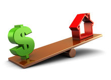 House and money. 3d illustration of house and dollar sign on board scale, over white background Stock Photo