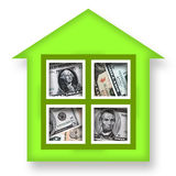 House of Money. Green house full of money over white background Royalty Free Stock Photos