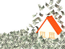 House and money. House and falling dollar banknotes. Isolated over white Stock Photography