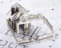 House of the money. For the architectural plan Royalty Free Stock Images