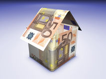 House And Money. Home and money concept. House shaped with euro banknotes on colored background Royalty Free Stock Images