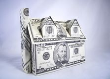 House of Money. A house made of fifty dollar bills Stock Photos