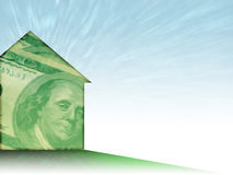 House of Money. House shape painted with a whispy 100 dollar bill - nice background theme for Mortgage/Realty/Finance Royalty Free Illustration