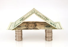 House of Money. American coins and bills used to form a house shape Stock Photography