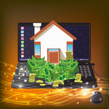 House with the money on a computer icon.   gold. House with the money on a computer. icon. on a gold background with glowing lines. Illustrations. Use for Royalty Free Stock Photo