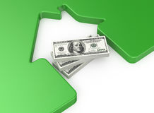 House and money. 3d illustration of house and money Royalty Free Stock Photography