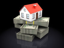 House and money. 3d illustration of house model on money stack, over black background Royalty Free Stock Image