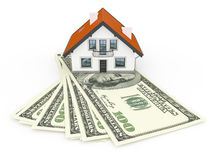 House and money. An image of a house above 100 Dollar banknotes Stock Photos
