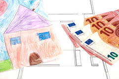 House Money Investment Draw. Drawing of a house and money stock photos