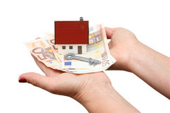 House with money and key Stock Photography