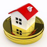 House On Money Means Purchasing Or Selling Property. House On Money Meaning Purchasing Or Selling Property Stock Photo