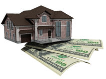 House with money over white background Stock Image
