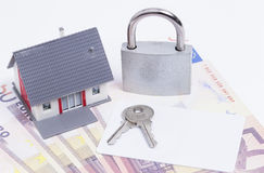 House money padlock card Royalty Free Stock Photo