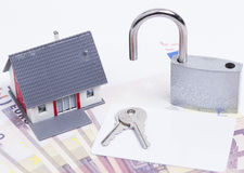 House money padlock card Royalty Free Stock Image