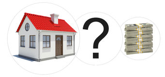 House with money and question mark Stock Photo
