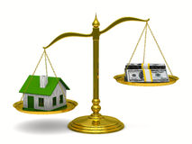 House and money on scales. Isolated 3D Stock Photography
