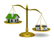 House and money on scales. Isolated 3D Stock Images