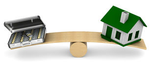 House and money on scales. Isolated 3D Stock Photos