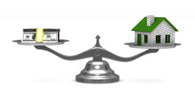 House and money on scales. Isolated 3D stock video footage