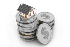 House on money stack. 3d illustration of house on money stack Stock Image