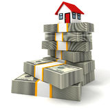 House on money stack, real estate business concept. 3d Stock Photography