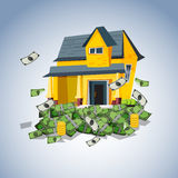 House on money stack, real estate business concept - stock illustration