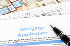 House mortgage application with pen Stock Photo