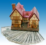 House mortgage with blue background. House mortgage for a big house stock photo