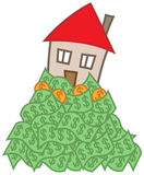 House mortgage. Simple cartoon house in money, mortgage debt concept Royalty Free Stock Images