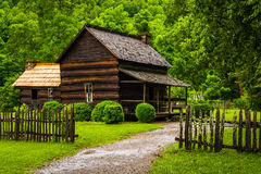 House at the Mountain Farm Museum in the Oconaluftee Valley, in royalty free stock image