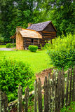 House at the Mountain Farm Museum in the Oconaluftee Valley, in Royalty Free Stock Photo