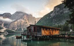 House on mountain lake Stock Images