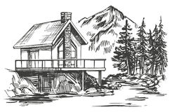 House in mountain landscape hand drawn vector illustration sketch. House in mountain landscape hand drawn vector illustration realistic sketch Stock Image