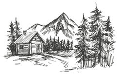House in mountain landscape hand drawn vector illustration sketch. House in mountain landscape hand drawn vector illustration realistic sketch Royalty Free Stock Photography