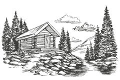 House in mountain landscape hand drawn vector illustration sketch. House in mountain landscape hand drawn vector illustration realistic sketch Stock Photo