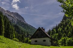 House in the mountain landscape stock image