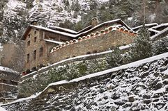 House in mountain. Ordino. Andorra.  Royalty Free Stock Images