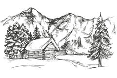 House in mountain the snow landscape hand drawn vector illustration realistic sketch. House in mountain the snow landscape hand drawn vector illustration sketch Royalty Free Stock Photo