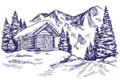 House in mountain the snow landscape hand drawn vector illustration sketch. House in mountain the snow landscape hand drawn vector illustration realistic sketch Royalty Free Stock Photos