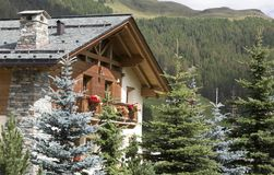 House in mountains, Livigno, Italy Stock Images