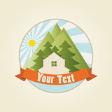 House in Mountains. Logo sample, vector template Royalty Free Stock Photography