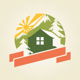 House in Mountains. Logo sample, vector template Royalty Free Stock Images