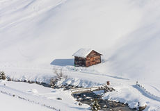 House in the mountains. Ski resort Livigno Royalty Free Stock Images
